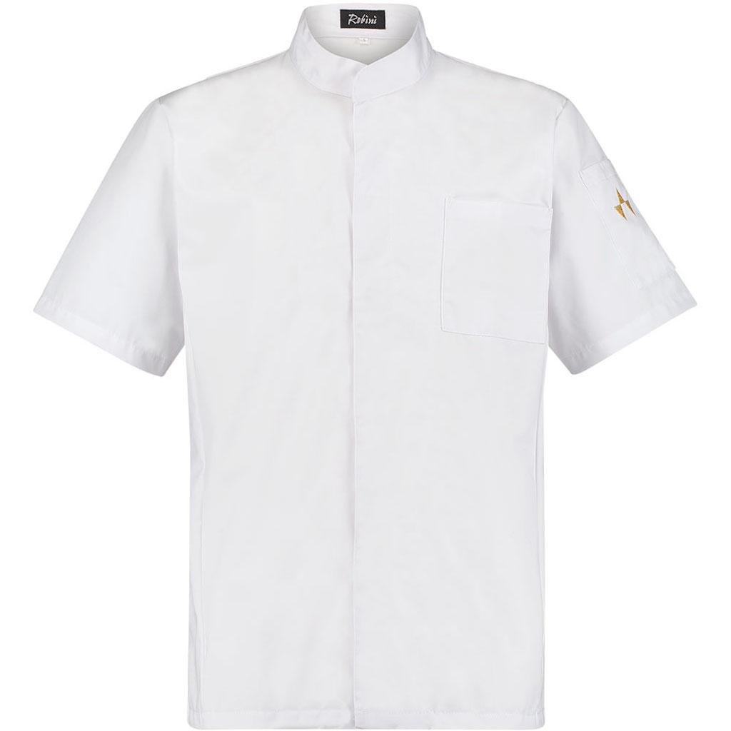 Kochjacke Dino Summer White Basic Brusttasche